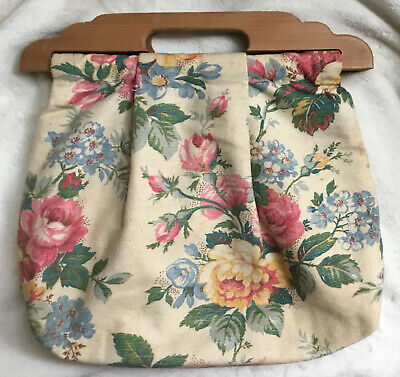 1930s Handbags and Purses Fashion Antique 1930's-1940's Floral Fabric Wood Handles Bag Purse Knitting Sewing Yarn  $23.95 AT vintagedancer.com