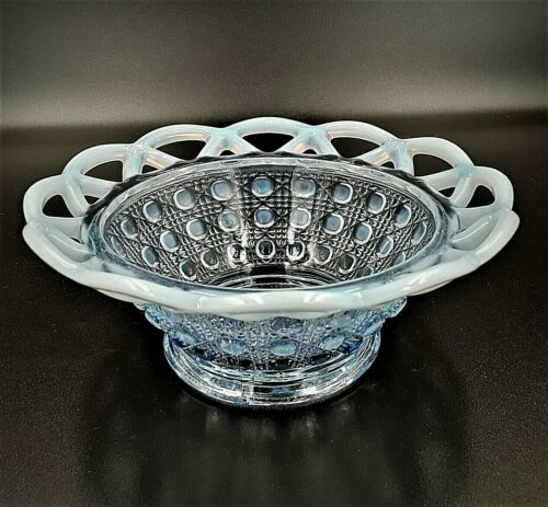 """VINTAGE IMPERIAL """"KATY LACE"""" OPALESCENT BLUE GLASS BOWL"""