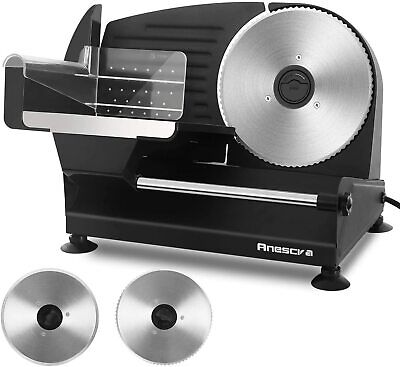 Anescra Electric Meat Slicer 200w Two Removable 7.5 Stainless Steel Blades