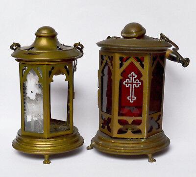 2 Versehlampen Messing Bronze 19. Jh Versehlampe restaurationsbedürftig