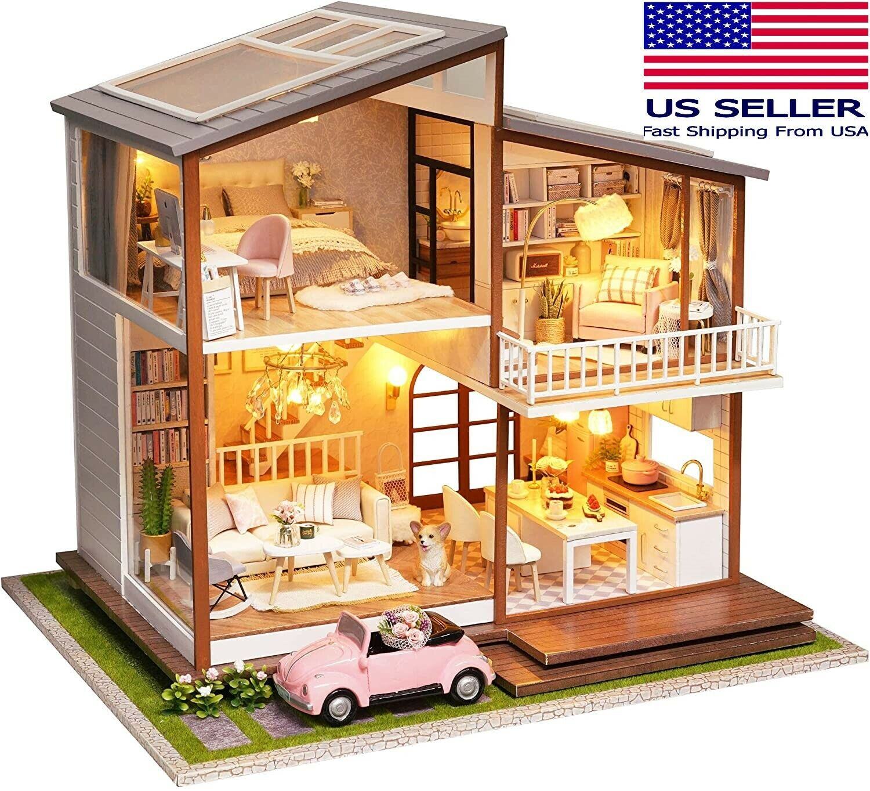 "DIY Spilay ""Slow Time"" Dollhouse Miniature Modern Large Villa Model Kit Doll Houses"