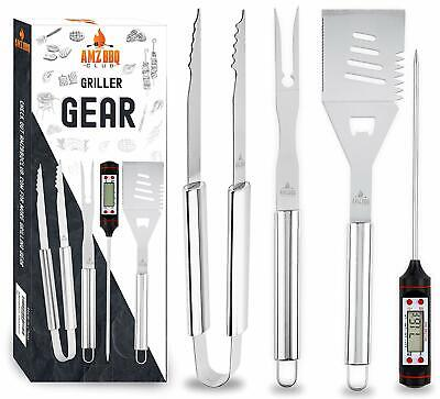 4 Piece Grill Utensil Set Instant Digital Thermometer, Spatula, Fork & Tongs
