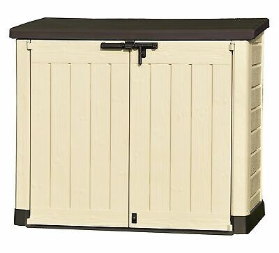 Keter Store-It Out Max Outdoor Plastic Garden Storage Shed, Beige and Brown