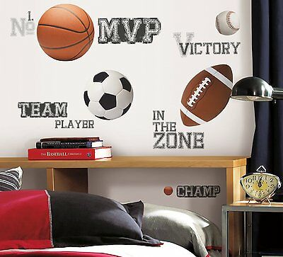 ALL STAR SPORTS 24 BiG Wall Stickers Baseball Soccer Ball Room Decor Decals RM2 - Soccer Ball Wall Stickers