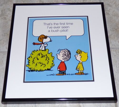 PEANUTS LINUS SALLY SNOOPY WWI FLYING ACE VINTAGE FRAMED POSTER PRINT SCHULZ