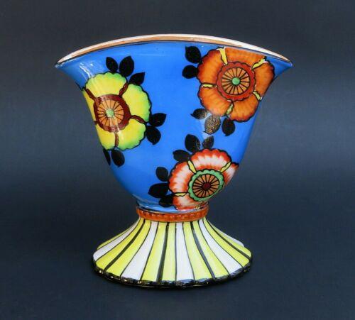SAKURAWARE Fan VASE Art Deco Hand Painted Porcelain MADE IN JAPAN