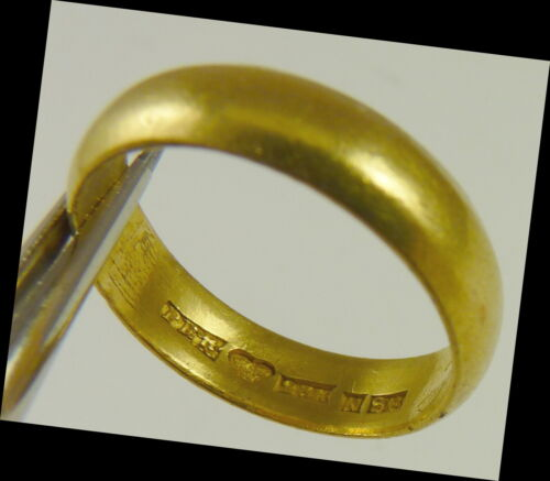 23K Gold Vintage Band Style Ring          Size 7.5            Dated 1935