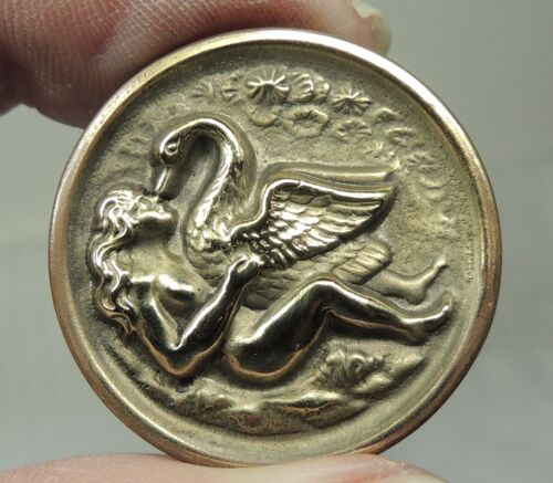 ANTIQUE BRASS PICTURE BUTTON ~ NUDE LADY & SWAN