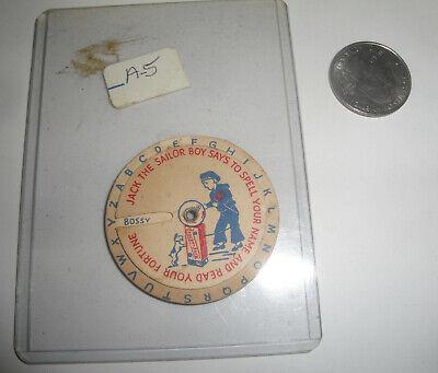 Vtg Cracker Jack Paper Board Fortune Wheel Spin Wheel Jack The Sailor Dog