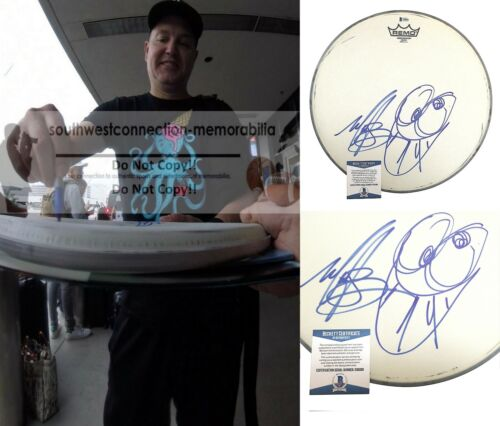 Mark Hoppus Blink-182 Signed Drum Head Cartoon Sketch Proof Beckett Autograph
