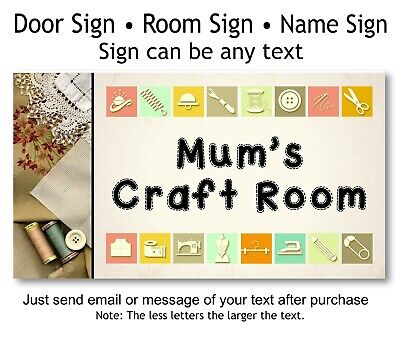 Mothers Day Cheap Gift for Mum Sewing Craft Room Door Plaque Idea, Name Sign - Cheap Mothers Day Gift Ideas