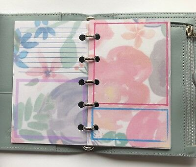 Filofax Mini Organiser Planner - Beautiful Flower Design Bullet Style Paper