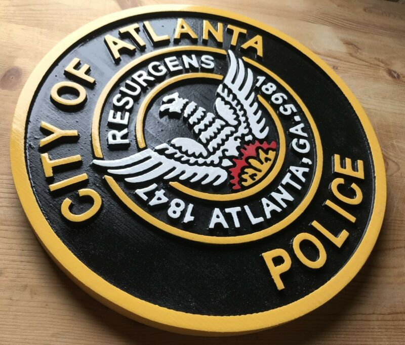 Police Atlanta Sign 3D routed wood award patch plaque sign Custom