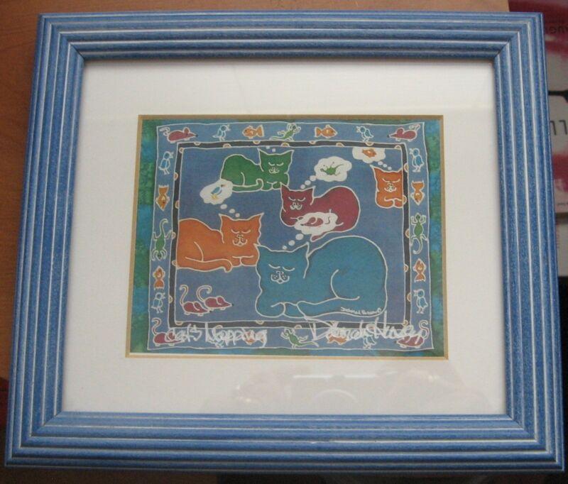 Cats Napping Framed Art Print Signed by Artist Debe Hersey Deborah
