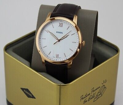 NEW AUTHENTIC FOSSIL THE MINIMALIST SLIM ROSEGOLD BROWN LEATHER MEN FS5463 WATCH