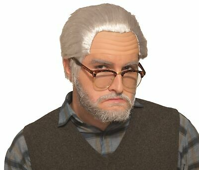 Old Man Wig Adult Grey Halloween Grandpa Slicked Back Style Costume Accessory