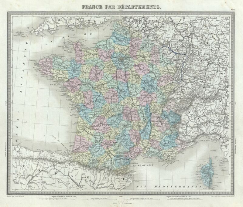 1874 Tardieu Map of France in Departments