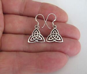 Sterling Silver 17mm Celtic Trinity Knot dangle earrings