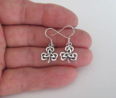 Sterling Silver Celtic Trinity shamrock dangle earrings