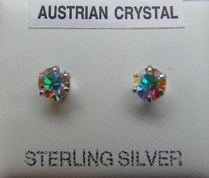 WOMENS STERLING SILVER 5MM AB/AURORA BOREALIS AUSTRIAN CRYSTAL STUD EARRINGS