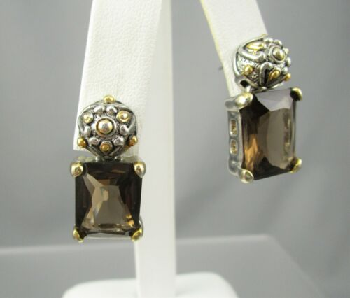 Signed MX Silver & Gold Tone Brown Dangling Glass Post Earrings #34D