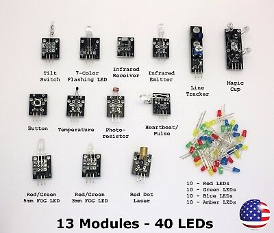 13 Sensors And 40 Leds Diy Starter Kit Modules For Arduino - Mcu - Robotics 53pc