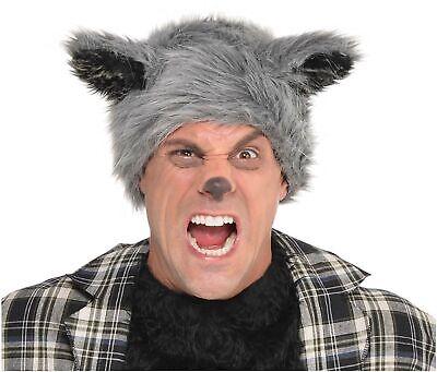 Werewolf Furry Mens Adult Grey Furry Monster Costume Hat - Werewolf Hat