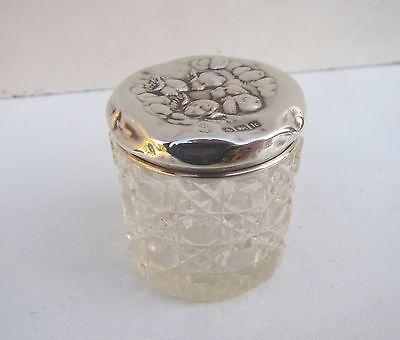 Old Cherubs Solid Silver & Cut Glass Vanity Jar - Hallmarked B'Ham 1909