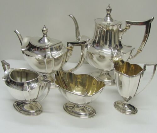 """Gorham 5 Piece Sterling """"Plymouth"""" Coffee and Tea Set (1911)"""
