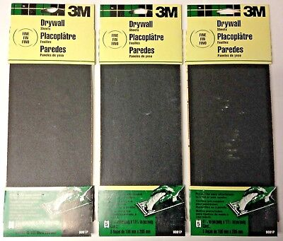3m 9091p 4-316 X 11-14 Fine Drywall Sanding Sheets 3 Packs Of 5 15 Sheets