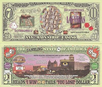Las Vegas 7 11 21 Dollar Bill Fake Play Funny Money Novelty Note + FREE - Las Vegas Novelties