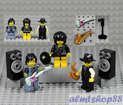 SP001 Lego Band Music Instruments Guitar Singer Saxophone Player Minifigures NEW