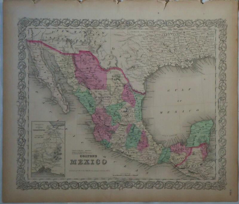 1854 Genuine Antique map of Mexico, Texas. Hand colored. Colton