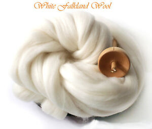 SALE-Falkland-Top-Roving-Wool-Super-White-Spinning-Felting-Undyed-Fiber-8-oz