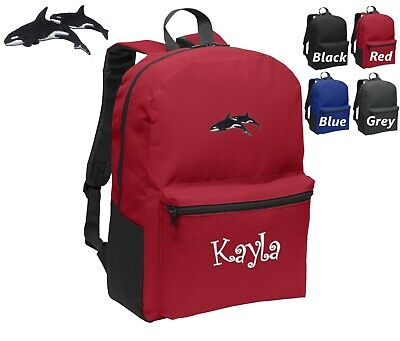 Personalized Kids Backpack Embroidered Killer Whales Orca Monogrammed with Name - Kids Embroidered Backpacks