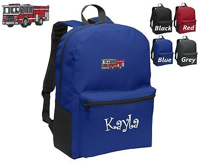 Personalized Kids Backpack Embroidered Fire Truck Engine Monogrammed with Name - Kids Embroidered Backpacks