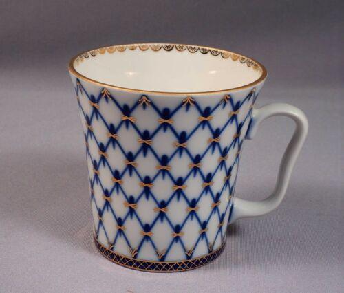Lomonosov Russian Porcelain Cobalt Net Coffee Tea MUG Gold Russia