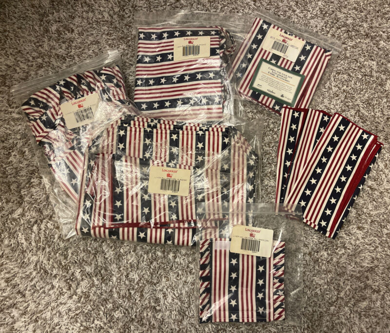 Longaberger Old Glory American Flag Picnic Liner, Napkins, Placemats & Liners