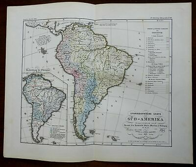 South American Indigenous Peoples & Europeans 1852 Berghaus ethnographic map
