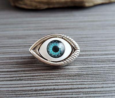 Handmade Antique Silver Eyeball Brooch Pin