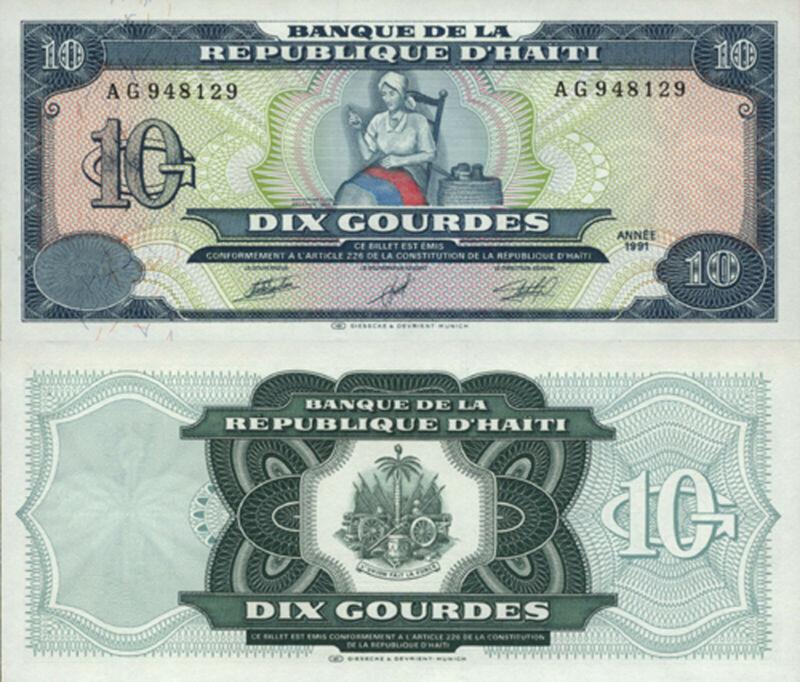 Haiti 10 Gourdes (1991) - Catherine Arcarhae/Flag/p256 UNC