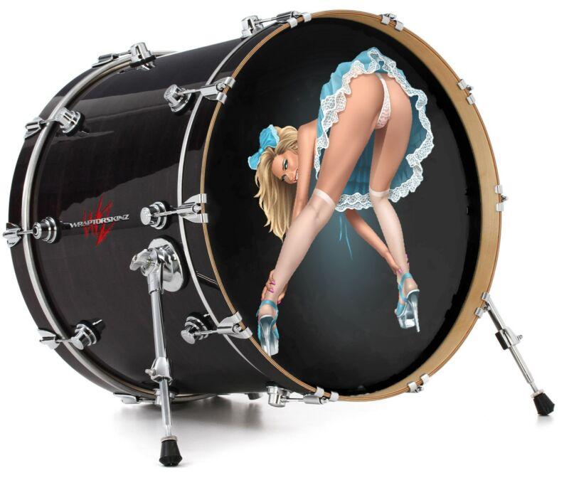 "Vinyl Skin Decal Wrap 22"" Bass Kick Drum Head Alice Pinup Girl"
