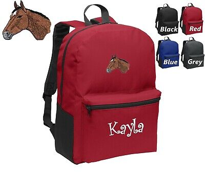 Personalized Kids Backpack Embroidered Horse Monogrammed with Name
