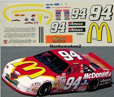 NASCAR DECAL #94 McDONALD's 1996 FORD THUNDERBIRD BILL ELLIOTT