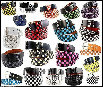 (Mens Womens 3-Row Metal Pyramid Studded Leather Belt  Checker Punk Rock Goth Emo)