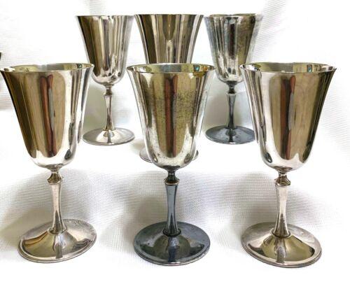 "6 Vintage Silver Plated Wine Goblets. El De Uberti of Italy, 6.5 "" Tall"