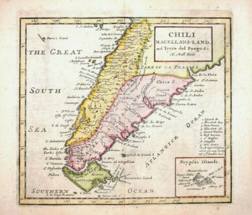 SOUTH AMERICA - CHILE, MAGELLANS - LAND AND TERRA DEL FUEGO BY H.MOLL 1723