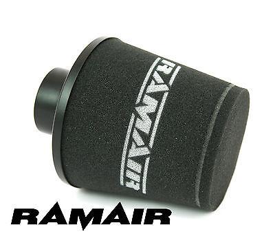 BLACK RAMAIR ALUMINIUM INDUCTION AIR FILTER UNIVERSAL 80mm OD NECK NEW
