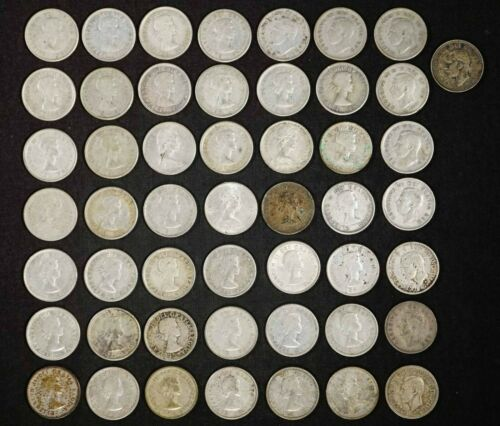 Roll of (50) Canadian 10c 80% Silver Dimes - Free Shipping USA