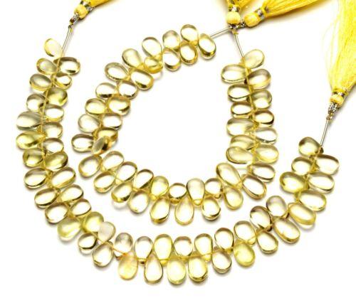"Lemon Quartz Gem 10x7mm Size Smooth Pear Shape Beads 9"" Strand Jewelry Supplies"